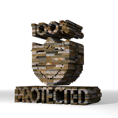 Smoky black  secure safe 3d graphic with isolated protected sign  built out of stones photo
