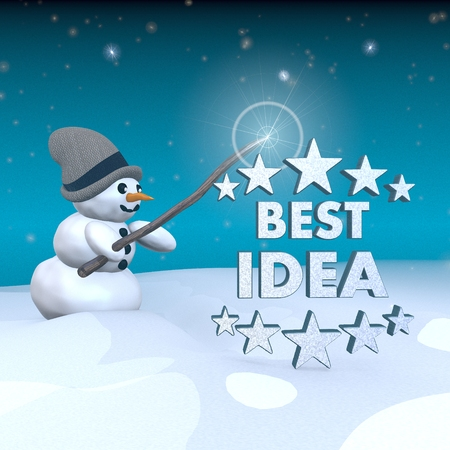 think tank: 3d rendered snowman in snowy x-mas landscape with doing magic with a best idea sign