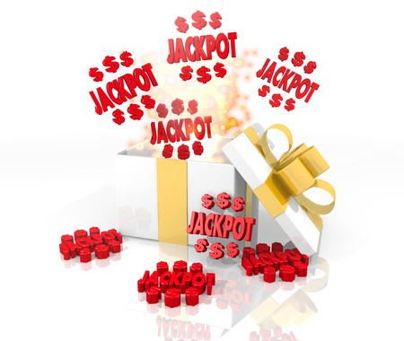 isolated 3d rendered gift on white with glittering jackpot symbol coming out of it Stock Photo - 23698919