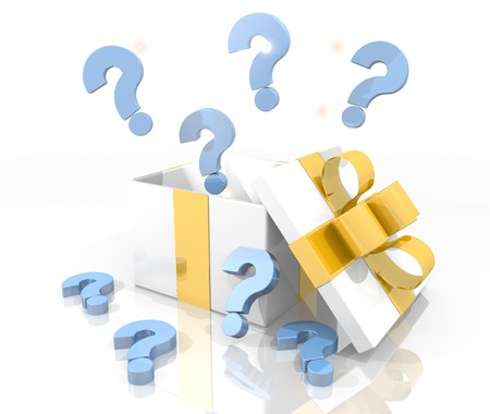 isolated 3d rendered gift on white with glittering question icon coming out of it photo
