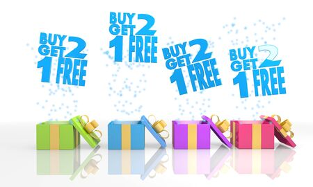 get one: four on white isolated 3d rendered gift boxes with birthday buy two get one free symbol coming out of it