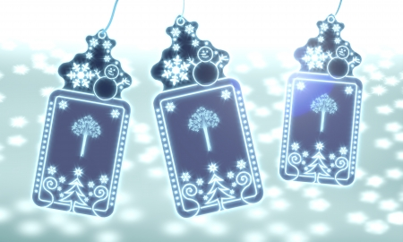 autumnn: three 3d rendered christmas cards with abstract tree sticker on ice blue blurred background with snow and glaring stars Stock Photo