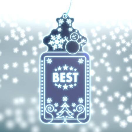 ornamental christmas labe with best sticker on ice blue blurred background with snow and glaring stars photo