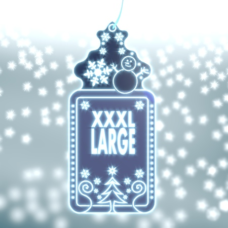 xl: trendy christmas labe with XL sign on ice blue blurred background with snow and glaring stars Stock Photo