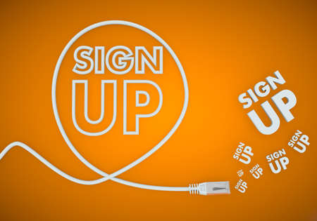 sign up icon: Light cyan  connected network 3d graphic with fresh sign up icon formed by an cable Stock Photo