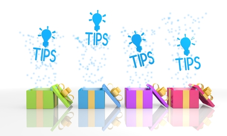 four on white background isolated 3d rendered gift boxes with birthday tip symbol coming out of it photo