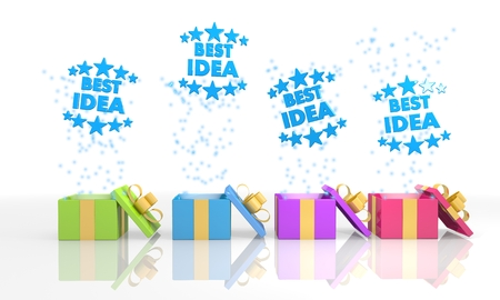 think tank: four on white background isolated 3d rendered gift boxes with happy best idea icon coming out of it Stock Photo