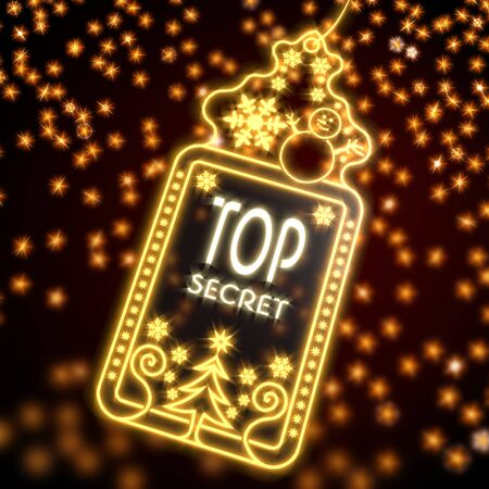 arcane: private wonderful christmas card with top secret sign on black background with glaring stars