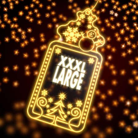 xxxl: large wonderful christmas card with XL symbol on black background with glaring stars
