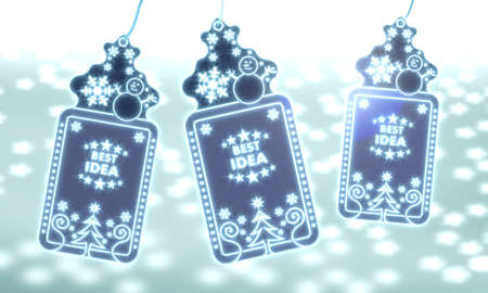 think tank: three 3d rendered christmas cards with best idea sticker on ice blue blurred background with snow and glaring stars