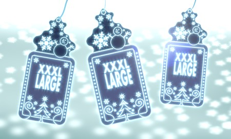 xl: three 3d rendered christmas cards with XL sticker on ice blue blurred background with snow and glaring stars Stock Photo