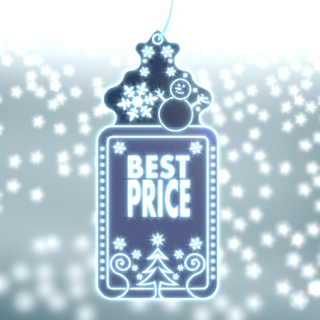 bright christmas labe with best price sticker on ice blue blurred background with snow and glaring stars photo