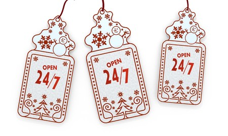 three 3d rendered shopping christmas cards with open sticker isolated on white background  photo