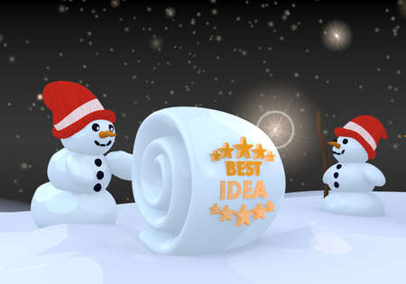 think tank: two 3d rendered creative snwoman in winter landscape with a best idea symbol on a snowball Stock Photo