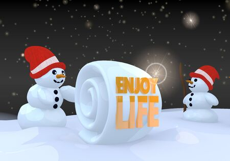 enjoy life: two 3d rendered happy snwoman in winter landscape with a enjoy life sign on a snowball