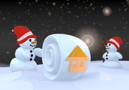 two 3d rendered cute snwoman in winter landscape with a house sign on a snowball photo
