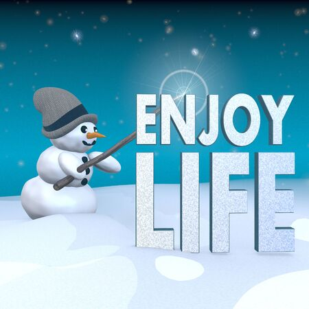 enjoy life: 3d rendered snowman in snowy x-mas landscape with doing magic with a enjoy life label  Stock Photo