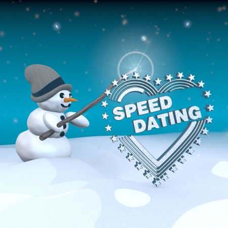 speed dating: 3d rendered snowman in snowy x-mas landscape with doing magic with a speed dating label  Stock Photo