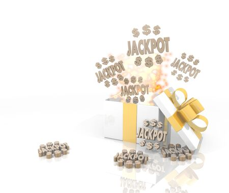 isolated 3d rendered gift on white background with glittering jackpot symbol coming out of it Stock Photo - 23921593