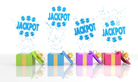 four on white background isolated 3d rendered gift boxes with christmas jackpot symbol coming out of it Stock Photo - 23921601