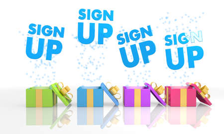 sign up icon: four on white background isolated 3d rendered gift boxes with christmas sign up icon coming out of it