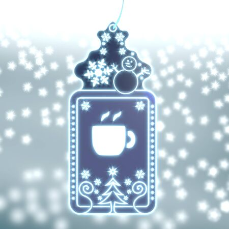 trendy christmas labe with coffee sign on ice blue blurred background with snow and glaring stars photo