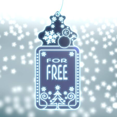 trendy christmas labe with free sign on ice blue blurred background with snow and glaring stars photo
