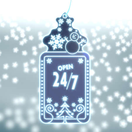 trendy christmas labe with open sign on ice blue blurred background with snow and glaring stars photo