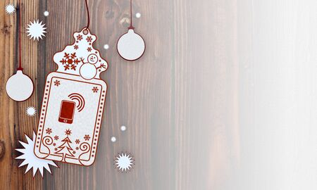 smart card:  illustration of a christmas card with smart phone sign in front of a wooden background with gradient to white Stock Photo