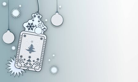 autumnn: nice illustration of a christmas label with abstract christmas tree card in front of a ice blue background with gradient to white and space for own content and text