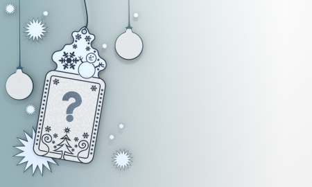 unclear: unclear illustration of a christmas label with question sign in front of a ice blue background with gradient to white and space for own content and text Stock Photo