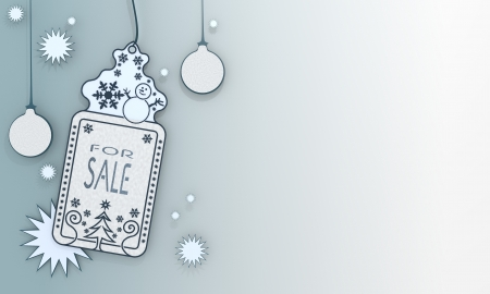illustration of a christmas label with sale sign in front of a ice blue background with gradient to white and space for own content and text illustration