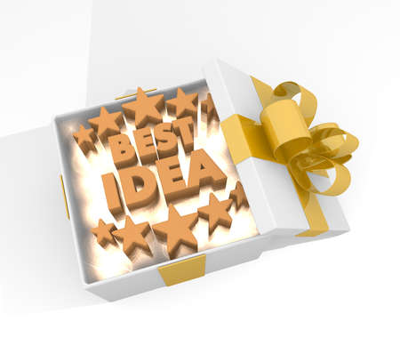 think tank: isolated 3d rendered xmas present with glittering best idea icon inside seen from top with white background Stock Photo