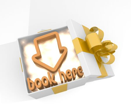isolated 3d rendered xmas present with glittering book here symnol inside seen from top with white background