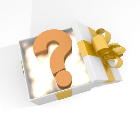 isolated 3d rendered xmas present with glittering question symnol inside seen from top with white background photo