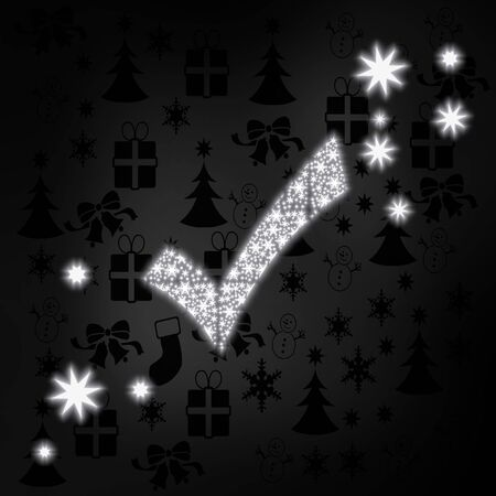well read: well done stylish check label in black white with xmas icons in the background and presents and glaring stars Stock Photo