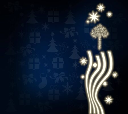 autumnn: natural noble abstract tree template in dark blue with christmas symbols and presents and glaring stars Stock Photo