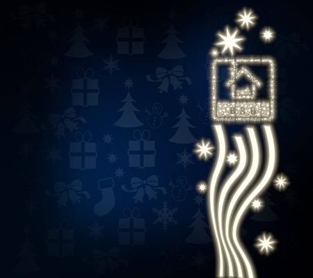 breakfast bed: decorative noble bed and breakfast design in dark blue with christmas symbols and presents and glaring stars