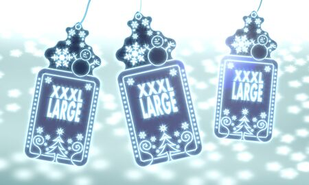 xxxl: three 3d rendered christmas cards with XL sticker on ice blue blurred background with snow and glaring stars Stock Photo