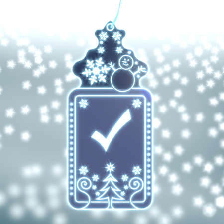 shiny christmas labe with check sign on ice blue blurred background with snow and glaring stars photo