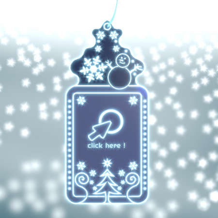 seasonal christmas labe with click here sticker on ice blue blurred background with snow and glaring stars photo