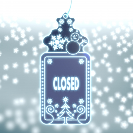 glaring: trendy christmas labe with closed sticker on ice blue blurred background with snow and glaring stars