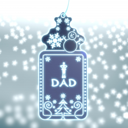 nice christmas labe with dad sticker on ice blue blurred background with snow and glaring stars photo