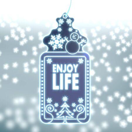 enjoy life: shiny christmas labe with enjoy life sticker on ice blue blurred background with snow and glaring stars
