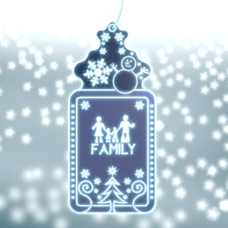 trendy christmas labe with family sticker on ice blue blurred background with snow and glaring stars photo