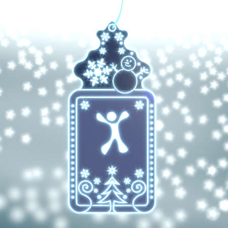 bright christmas labe with happy character sticker on ice blue blurred background with snow and glaring stars photo