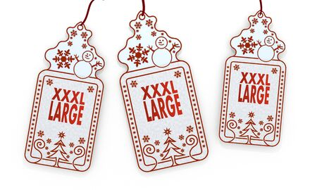 xl: three 3d rendered shopping christmas cards with XL sign isolated on white background