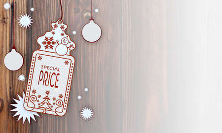 illustration of a christmas card with special price label in front of a wooden background with gradient to white illustration