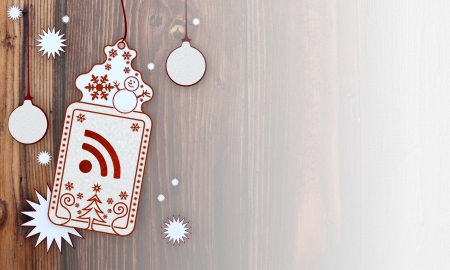 illustration of a christmas card with wifi sign in front of a wooden background with gradient to white