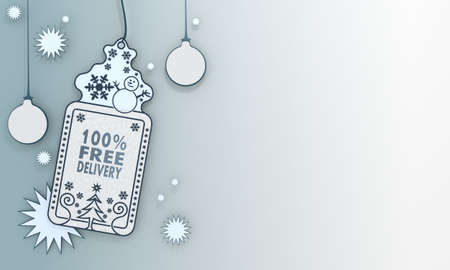 free illustration of a christmas label with 100 percent free delivery card in front of a ice blue background with gradient to white and space for own content and text illustration